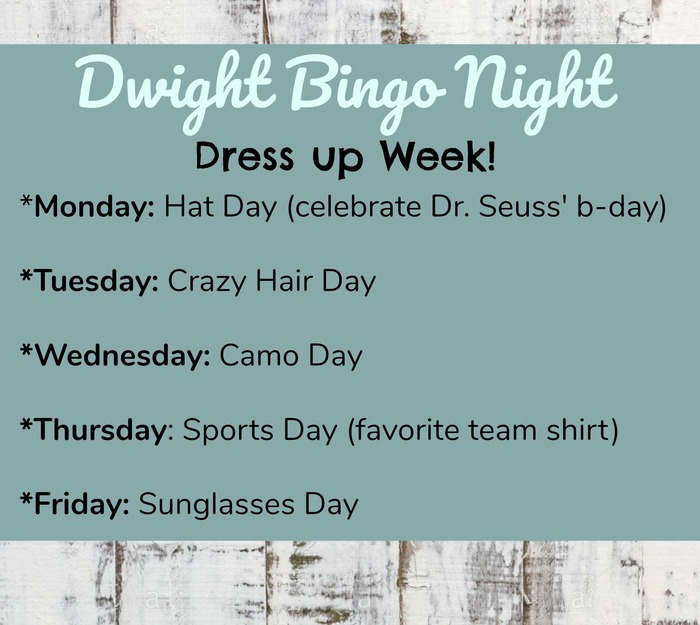 Monday: Hat Day, Tuesday, Crazy Hair, Wednesday: Camo, Thursday: Sports, Friday: Sunglasses