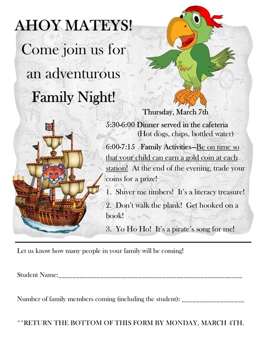 Family Night is March 7th!