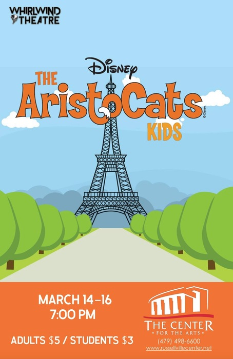 Marquee flyer for Aristocats kids; Eiffel tower in background and trees in the forefront.
