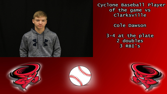 Cyclone baseball player of the game.