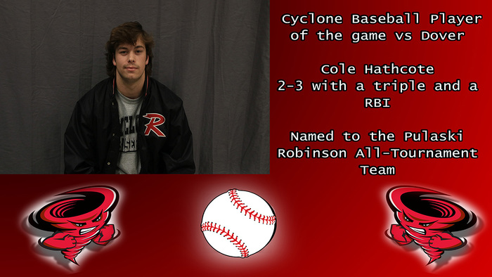 Cole Hathcote player of the game vs Dover.