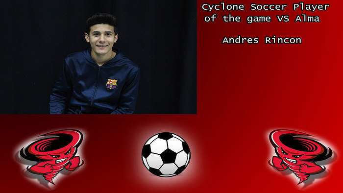 Andres Rincon Cyclone soccer player of the game.