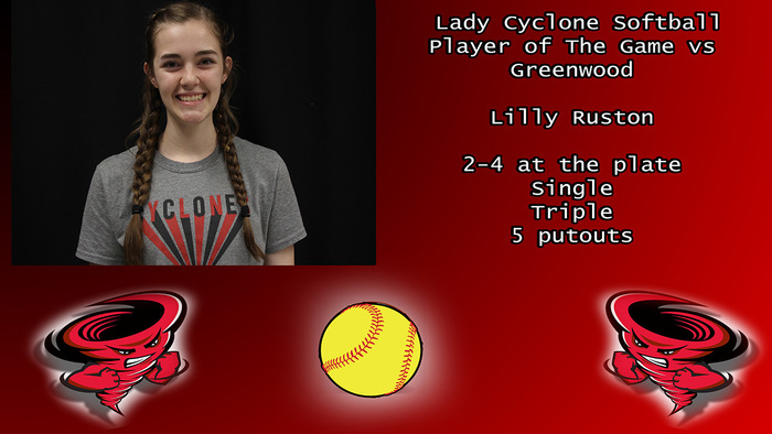 Lady Cyclone softball player of the game vs Greenwood.