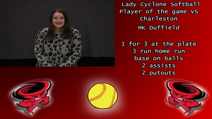 MK Duffield Lady Cyclone softball player of the game vs Charleston.