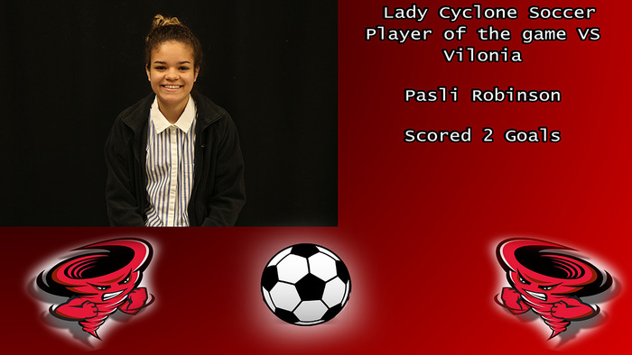 Pasli Robinson Lady Cyclone Soccer player of the game vs Vilonia.