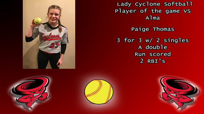 Paige Thomas player of the game.