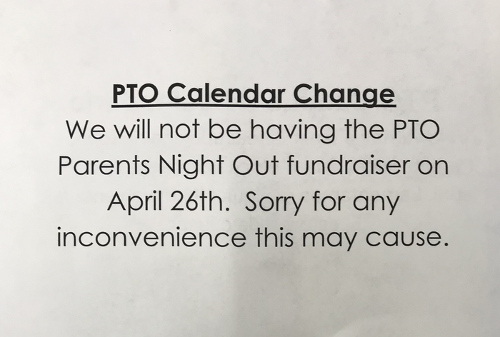 PTO fundraiser cancelled