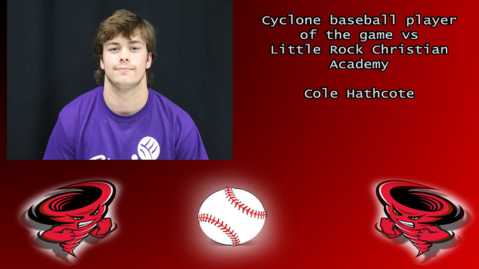 Cole Hathcote player of the game.