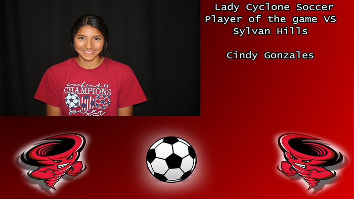Cindy Gonzales player of the game.