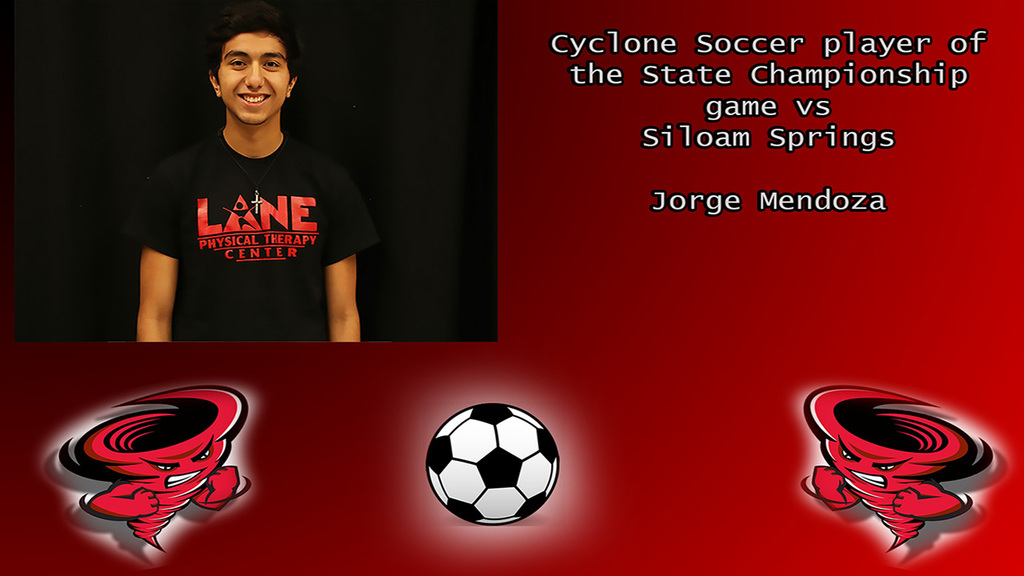 Jorge Mendoza Cyclone Soccer player of the game.