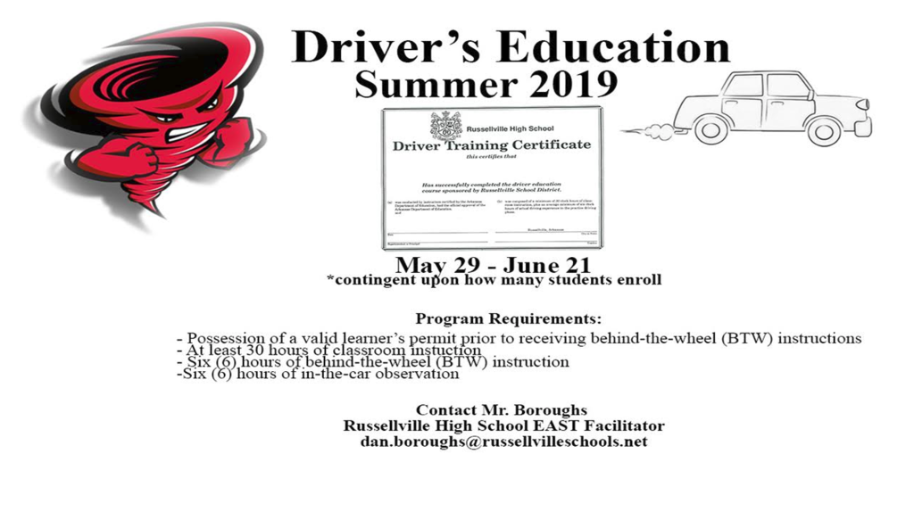Flyer for driver's ed classes; white background with black font.