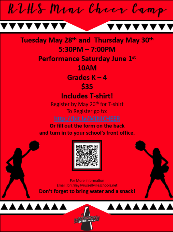 flyer for mini cheer camp; red background with black font;
