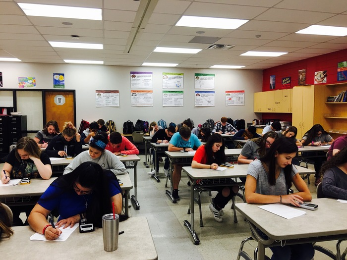 Ms. Winns' students taking their Pre Cal exam.