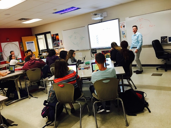 Mr. Meredith's Pre AP  Biology class listening to instructions.