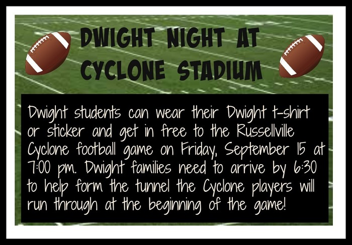 Dwight Night at the Cyclone football game is this Friday, September 15.