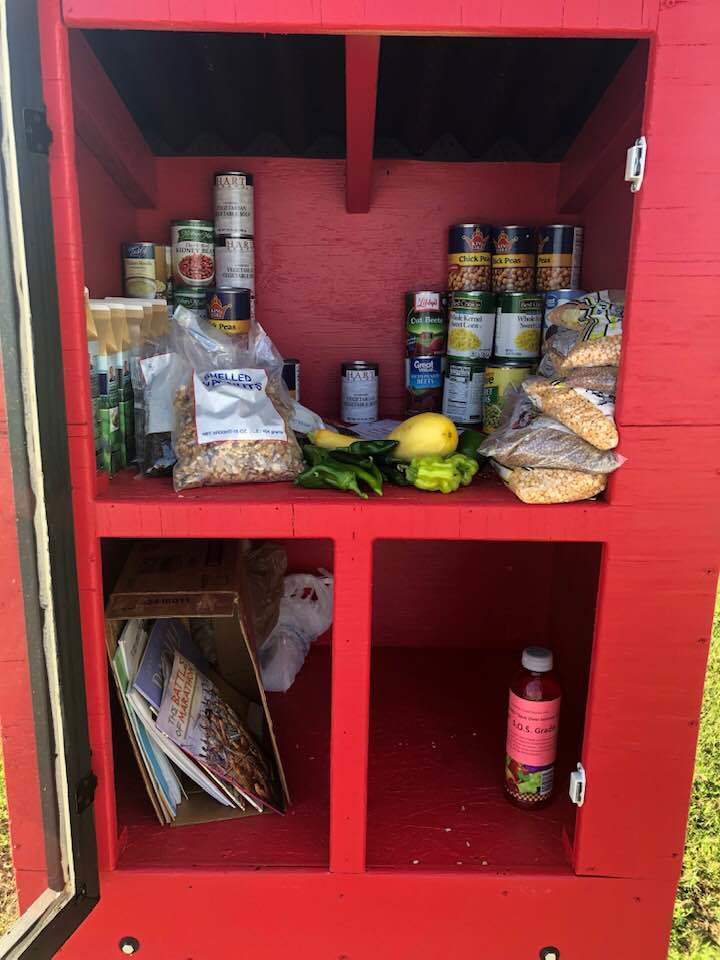 Red pantry box with cans and fresh vegetables in it.