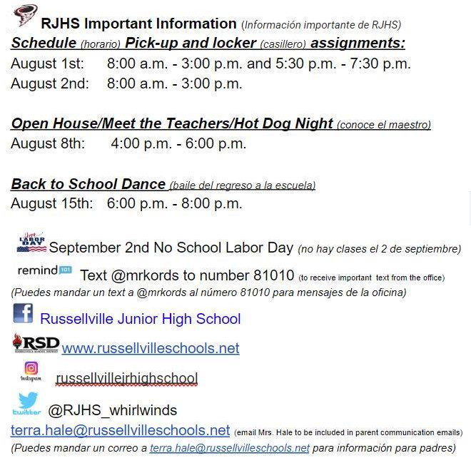 White background with black text detailing back to school information