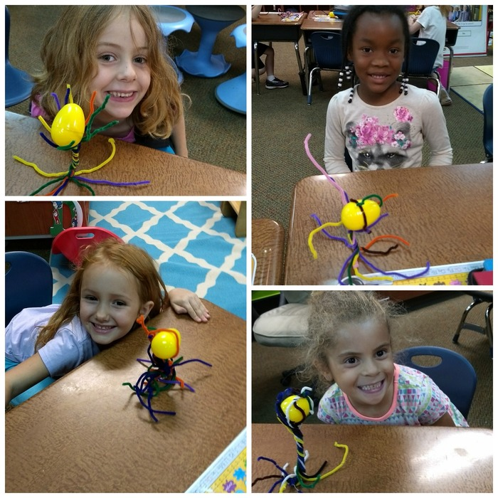 Kindergarten Students with their pipe cleaner towers.