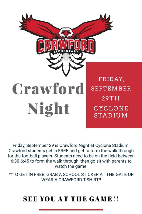 Crawford Night at Cyclone Stadium- Friday, September 29th