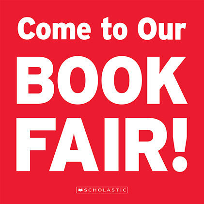 Come to our Book Fair! ; red background, white font