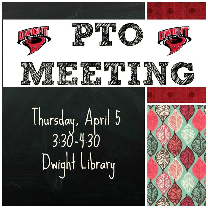 PTO Meeting on April 5 at 3:30 in the library