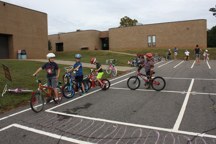 Students working on bike safety.