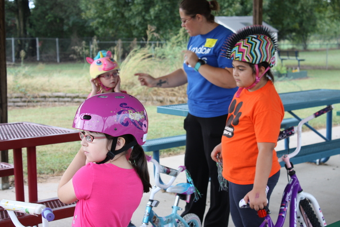 Students preparing for Bicycle Rodeo.