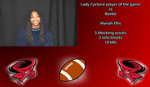 Mariah Ellis player of the game vs Beebe.
