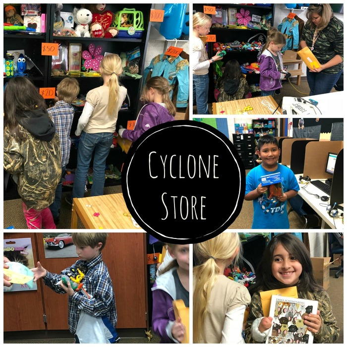 Collage Picture of students shopping in the Cyclone Store.