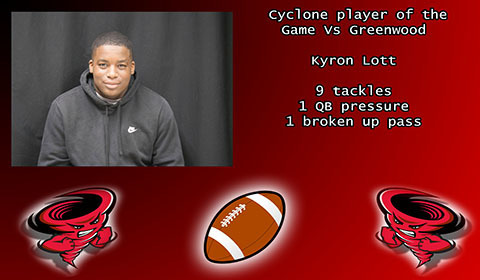 Kyron Lott player of the game.