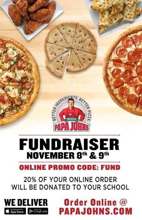 Papa John's Pizza Fundraiser Poster: November 8 and 9th