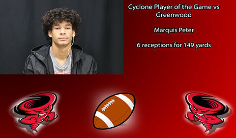Marquis Peter player of the game vs Greenwood.