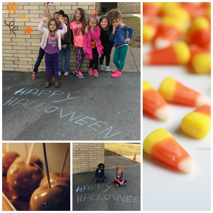 Pictures of students at recess on Halloween