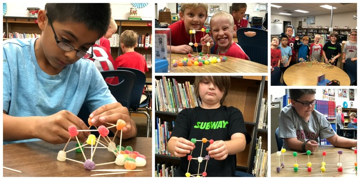 Collage of students building structures with gumdrops and toothpicks