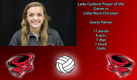 Gracie Palmer player of the game vs Little Rock Christian.