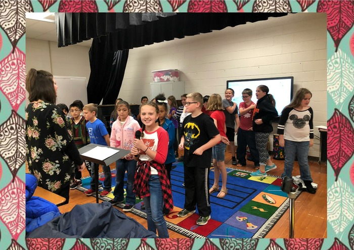 Fourth Grade students practicing for the musical