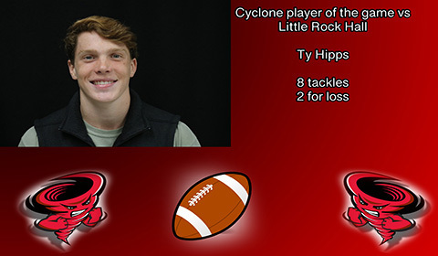 Ty Hipps player of the game vs Little Rock Hall.
