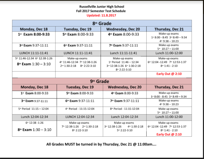 Fall 2017-2018 Semester Test Schedule