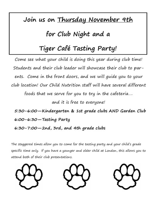 Club Night and Tasting Party