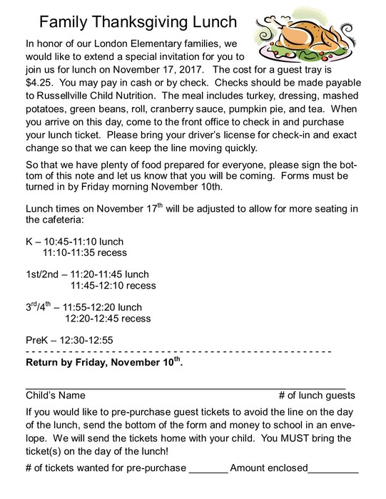 Family Thanksgiving Lunch Info