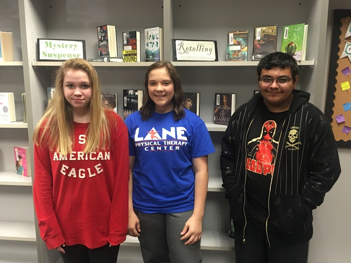 8th grade spelling bee winners:  1st place Rylee Huffman, 2nd place Maggie Hutchison, and 3rd place Julian Navarro
