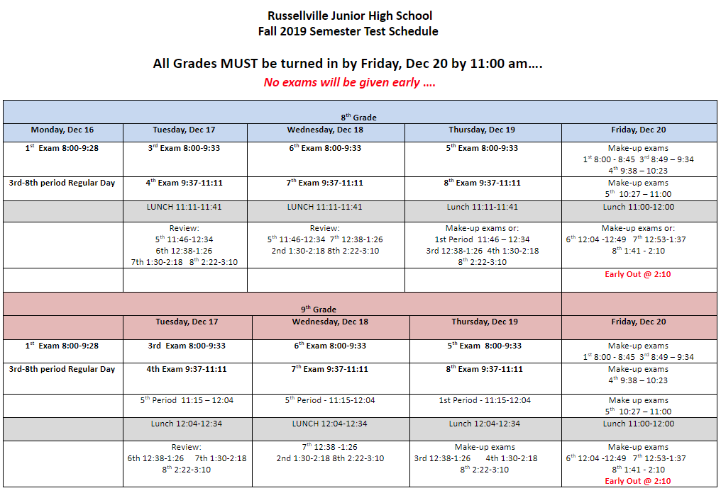 Fall Semester Test Schedule
