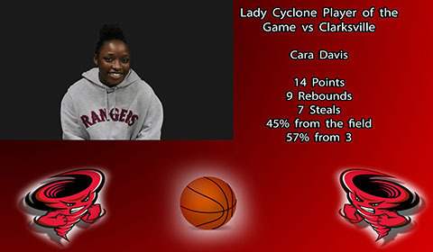 Cara Davis player of the game vs Clarksville.