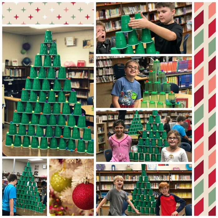 Collage picture of plastic cup Christmas trees