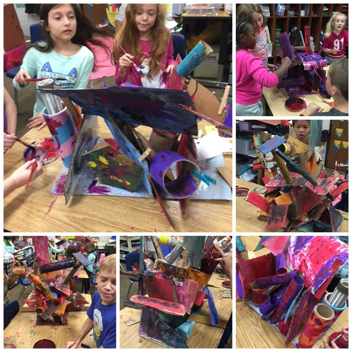 Collage picture of students making cardboard sculptures