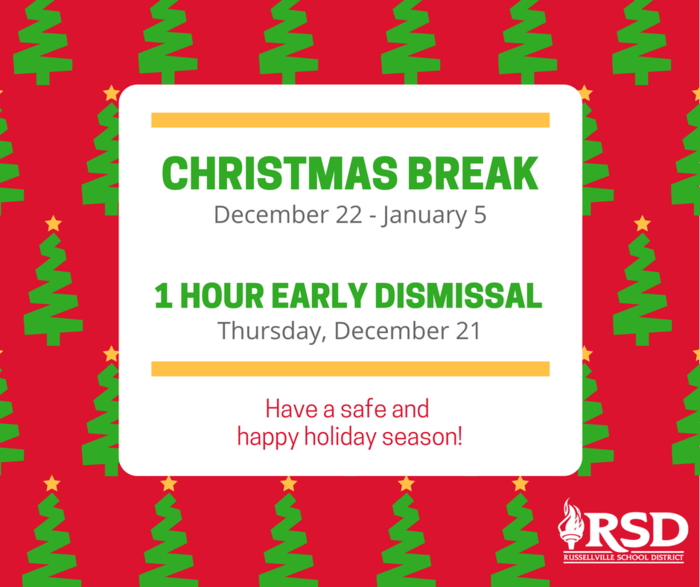 Christmas Break PSA with red background and green Christmas trees