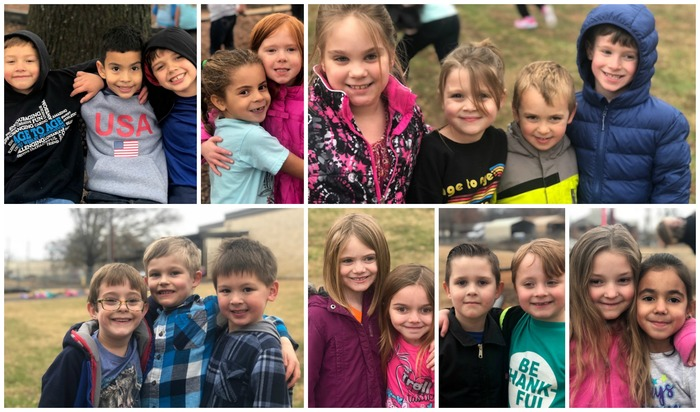 Collage picture of kindergarten and first grade students at recess