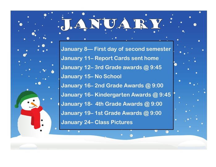 January calendar of events