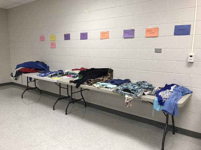 Picture of clothing donation table
