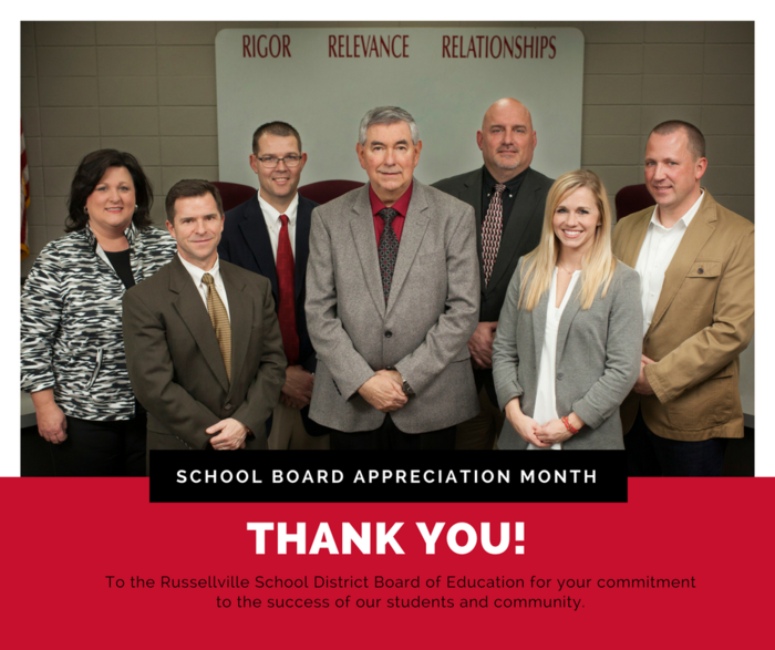 School Board Appreciation Month announcement; picture of RSD school board